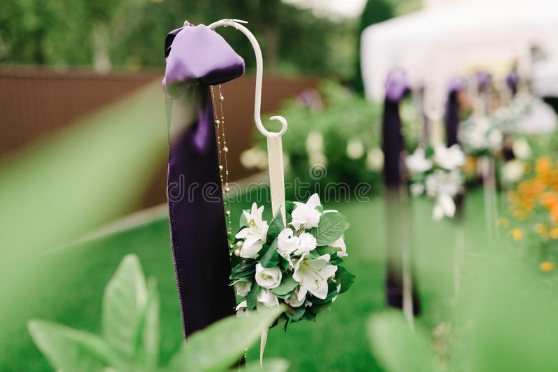 Wedding decorations in violet color stock image image of bouquet decoration in purple tones lily flowers wedding decoration junglespirit Images