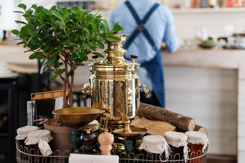 Download Decoration In Restaurant With Russian Samovar. Tea Drinking Table Setting Stock Photo - Image & Decoration In Restaurant With Russian Samovar. Tea Drinking Table ...