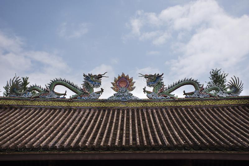 Decoration and sculpture and carving colorful art roof of chinese shrine at Kaiyuan Temple at Teochew city in Guangdong, China royalty free stock photos