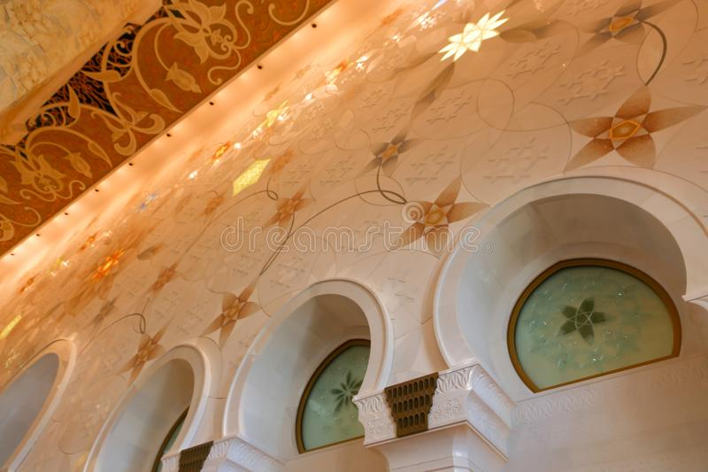 Decoration of Shaiekh Zayed Mosque - Abu Dhabi. Shaiekh Zayed Grand Mosque - Abu Dhabi - United Arab Emirates. It is the largest mosque in the country royalty free stock photography