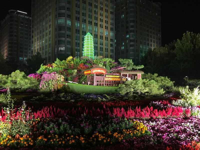 Decoration in street of Beijing to celebrate the 70th anniversary of the founding of the People's Republic of China stock photos
