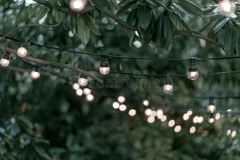 Decoration of the street with vintage Edison incandescent bulbs garland royalty free stock image