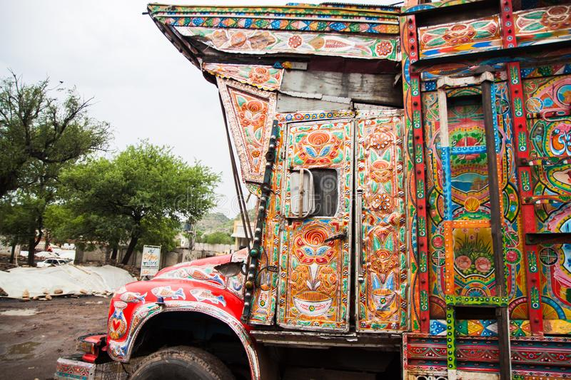 Decoration on a traditional Pakistani truck stock images