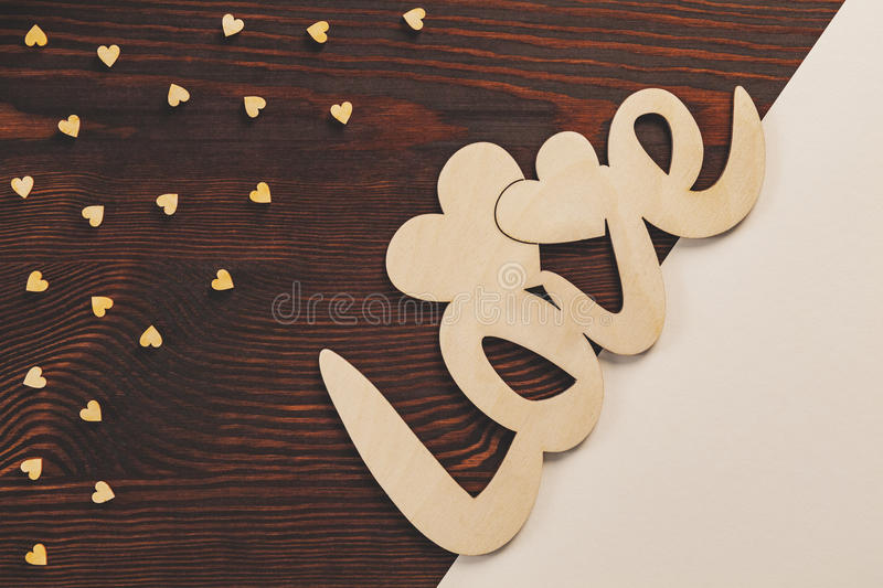 Decoration for Valentine`s Day. Decoration made on table for Valentine`s Day royalty free stock photography