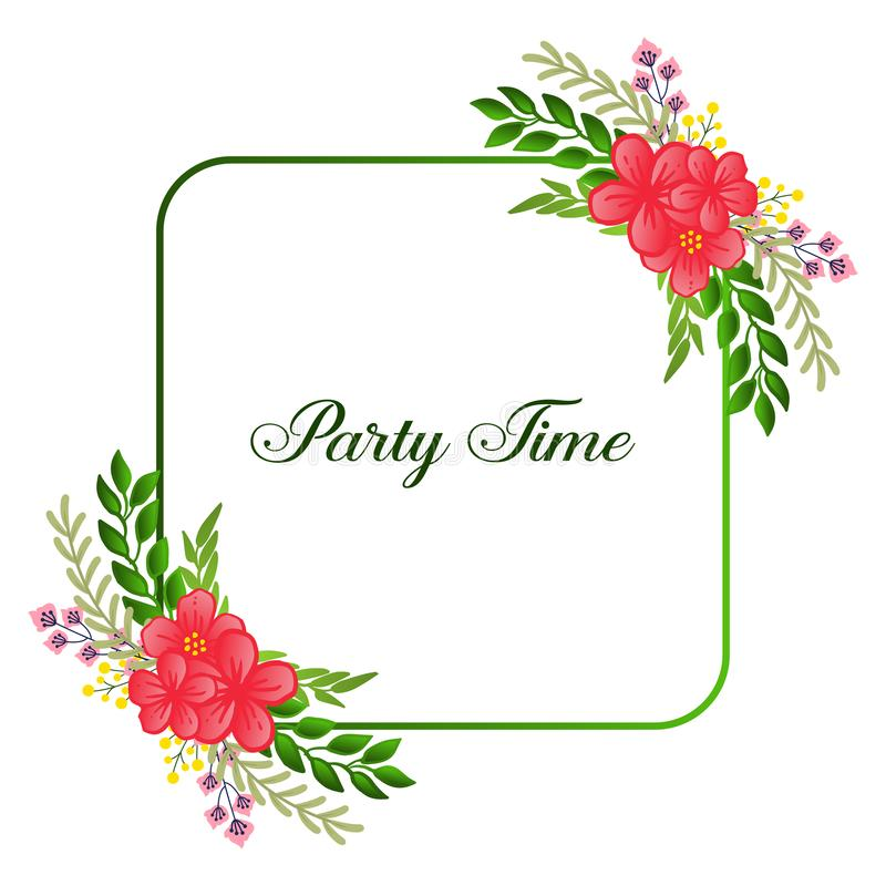 Decoration various of party time card, with pattern wreath frame elegant. Vector. Illustration stock illustration