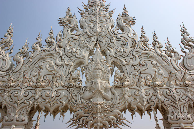 Decoration at Wat Rong Khun or White Temple, a contemporary unconventional Buddhist temple in Chiangrai, Thailand, was designed b. Y Arjan Chalermchai Kositpipat stock photo