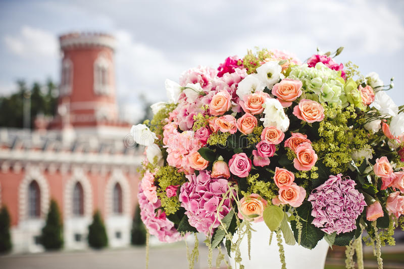 Decoration of wedding flowers royalty free stock photography