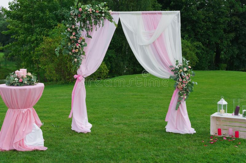 Decoration for a wedding in a pink style royalty free stock photo