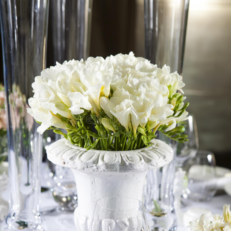 decoration of wedding table bouquet of white flower of anemone stock photo image of midwest. Black Bedroom Furniture Sets. Home Design Ideas