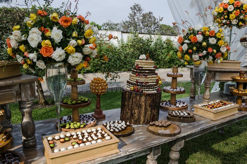 Decoration for Weddings. Sweet table royalty free stock images