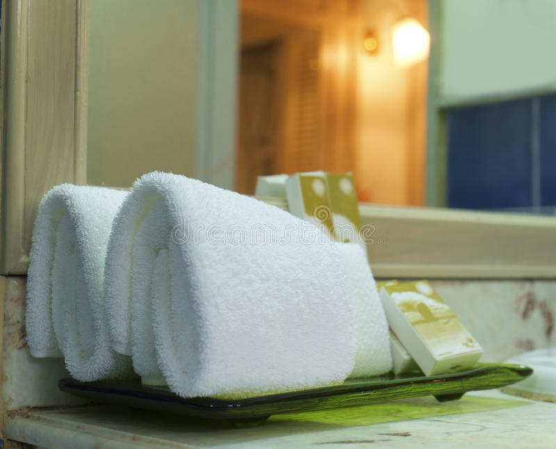 Download Decoration Of White Towels In Bathroom Stock Photo   Image Of  Natural, Massage: