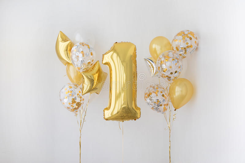 Decoration for 1 years birthday, anniversary stock image