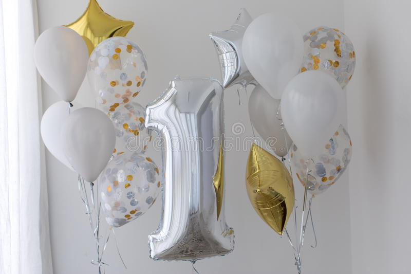 Decoration for 1 years birthday, anniversary royalty free stock image
