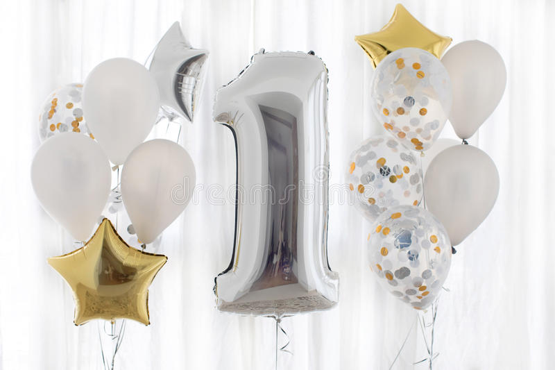Decoration for 1 years birthday, anniversary stock photography