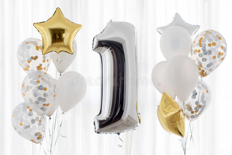 Decoration for 1 years birthday, anniversary stock photos