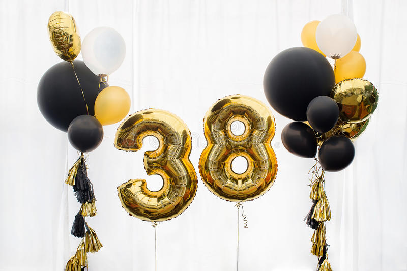 Decoration for 38 years birthday, anniversary royalty free stock photos