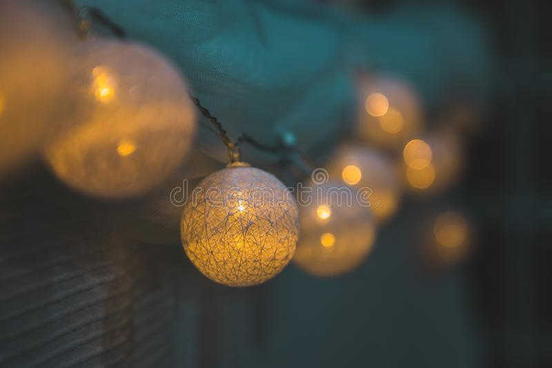 Decoration yellow lights blurred perspective stock photo