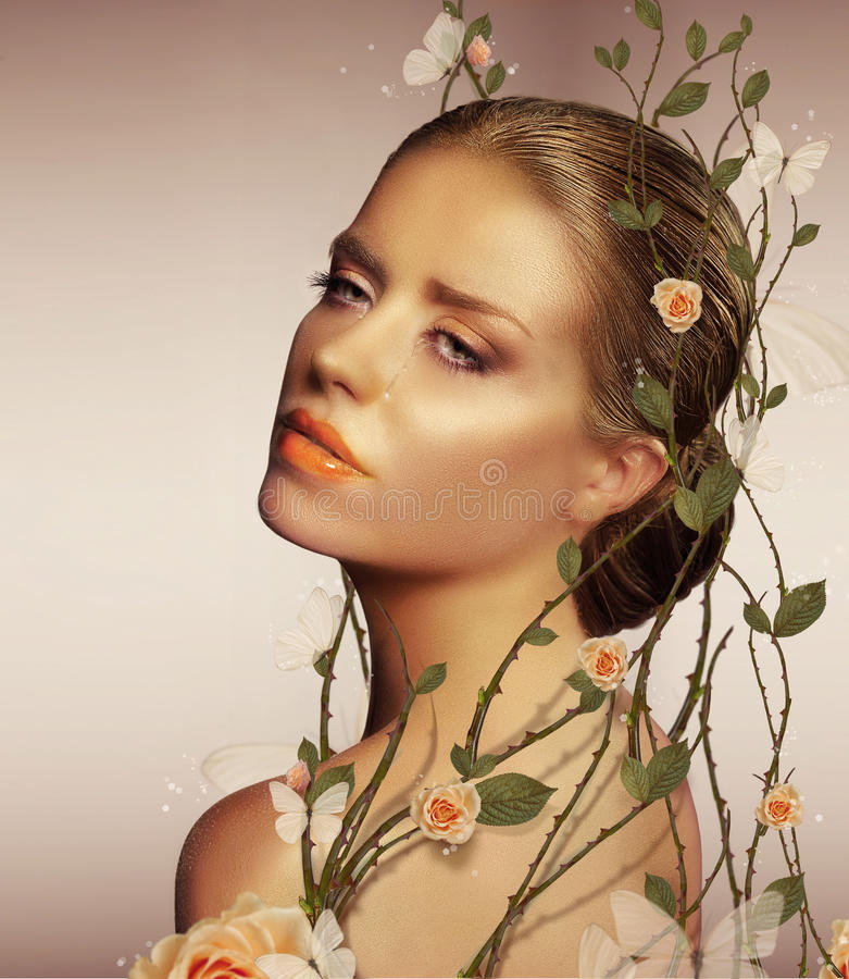 Decoration. Young Sensual Woman with Flowers royalty free stock photos