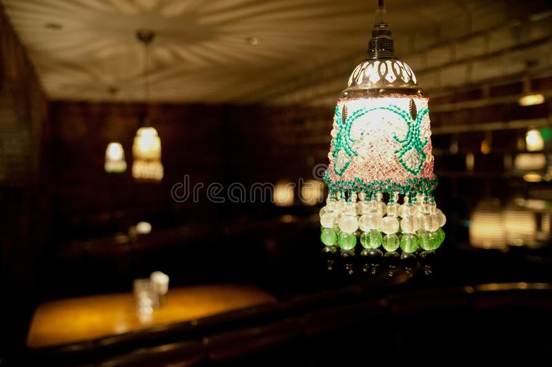 Decorations at the Bar around Yokohama, Japan. Many things are used as displays for entertaining customers. In summer time, intern. Ational stock images
