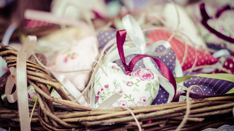 Decorations in basket stock photos