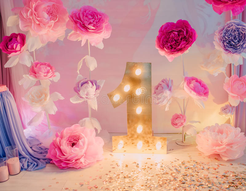 Decorations birthday flowers stock images