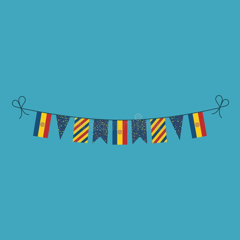 Decorations bunting flags for Andorra national day holiday in flat design. Independence day or National day holiday concept vector illustration
