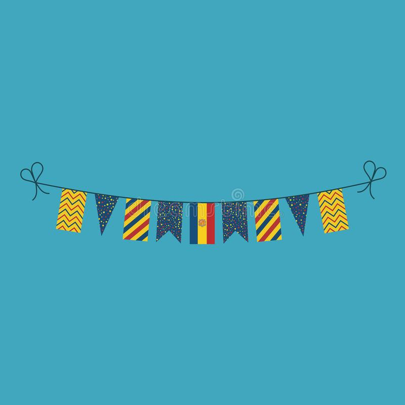Decorations bunting flags for Andorra national day holiday in flat design. Independence day or National day holiday concept stock illustration