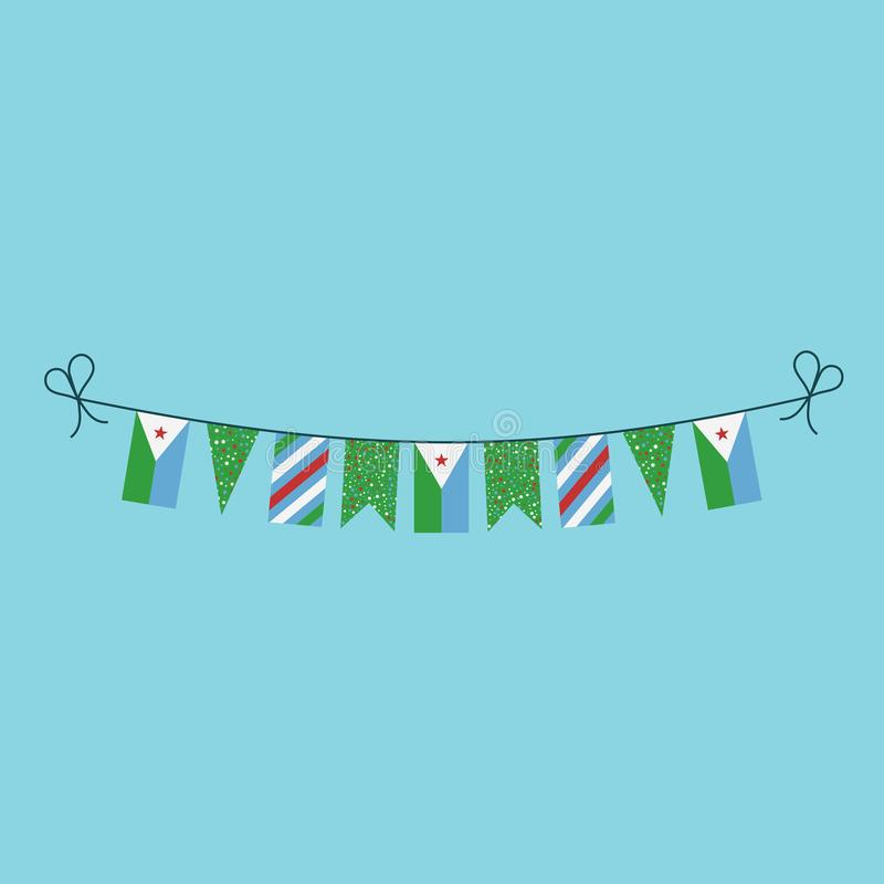 Decorations bunting flags for Djibouti national day holiday in flat design vector illustration