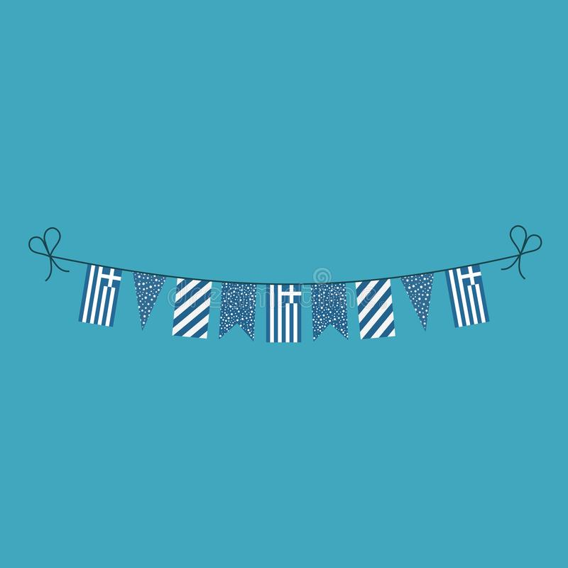 Decorations bunting flags for Greece national day holiday in flat design royalty free illustration