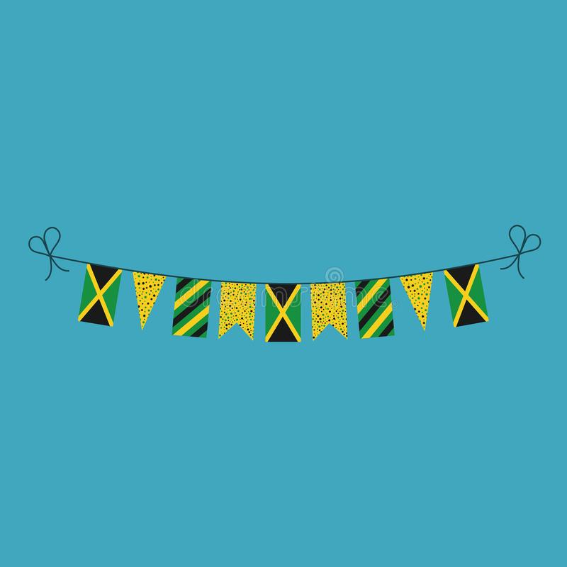 Decorations bunting flags for Jamaica national day holiday in flat design. Independence day or National day holiday concept stock illustration