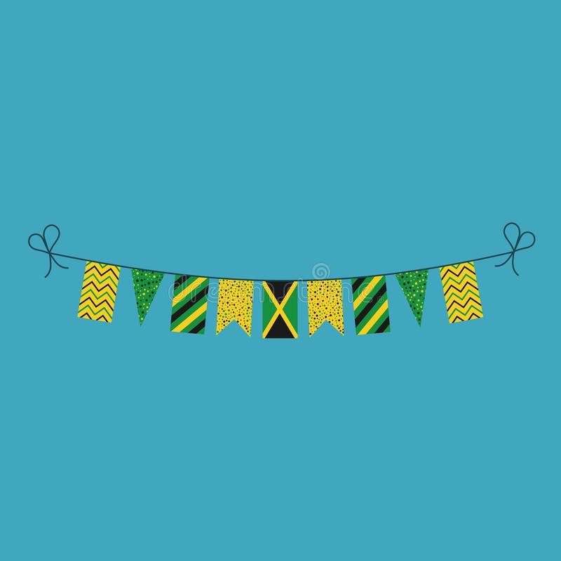 Decorations bunting flags for Jamaica national day holiday in flat design. Independence day or National day holiday concept royalty free illustration