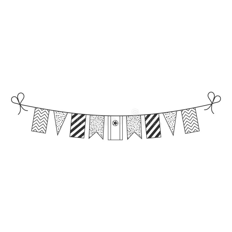 Decorations bunting flags for North Korea national day holiday in black outline flat design vector illustration