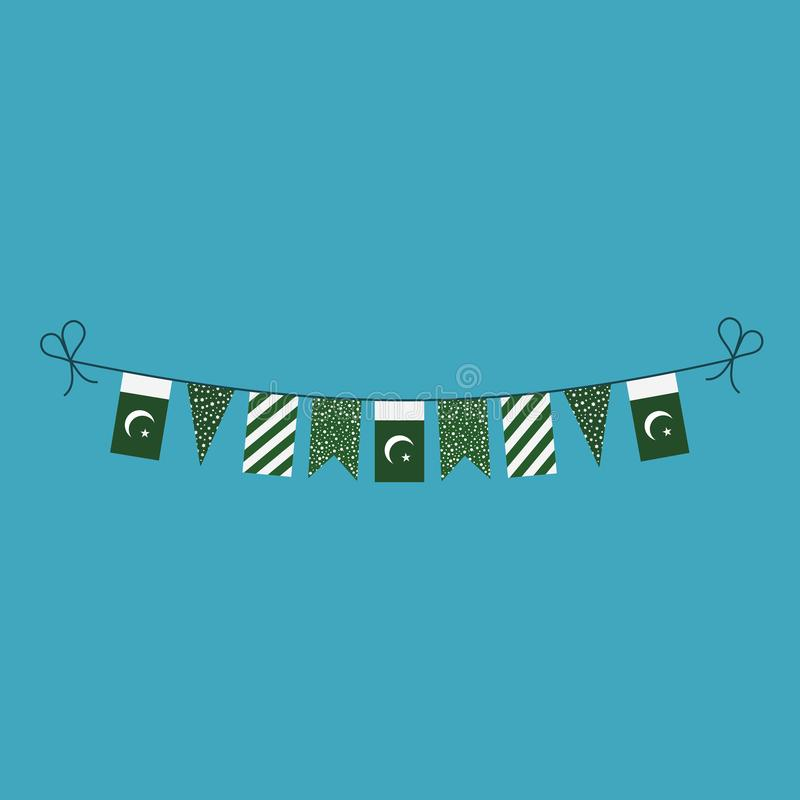 Decorations bunting flags for Pakistan national day holiday in flat design vector illustration