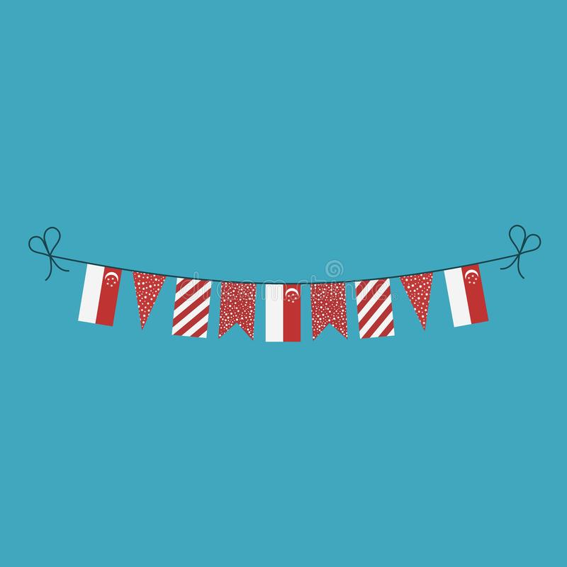 Decorations bunting flags for Singapore national day holiday in flat design vector illustration