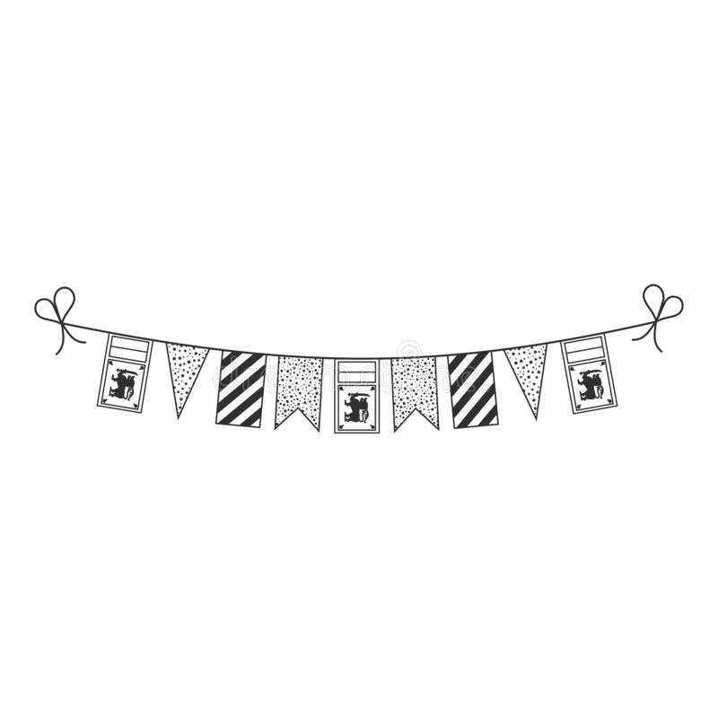 Decorations bunting flags for Sri Lanka national day holiday in black outline flat design royalty free illustration