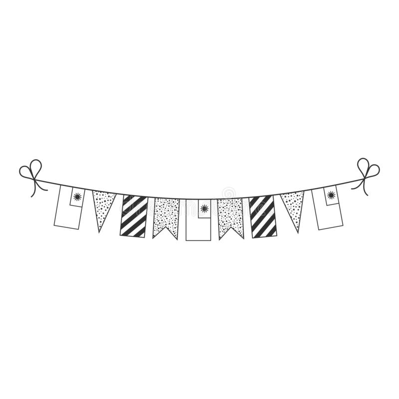Decorations bunting flags for Taiwan national day holiday in black outline flat design royalty free illustration