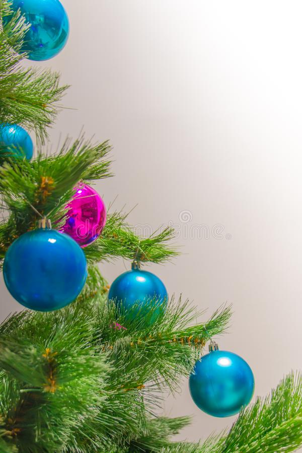 Decorations on Christmas tree. The large blue balls stock photography