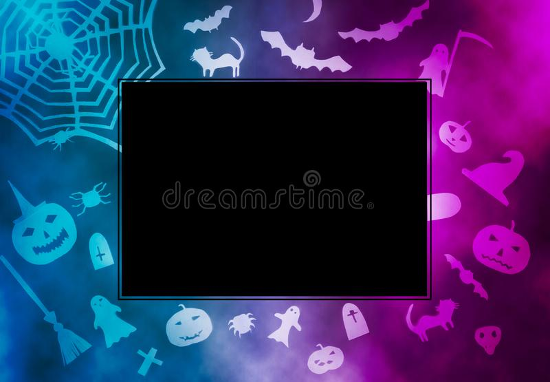 Decorations for Halloween party. Handmade paper decor. Festive greeting card, poster, banner design. Spider web, pumpkin, bat, cats, ghosts and spiders royalty free stock images