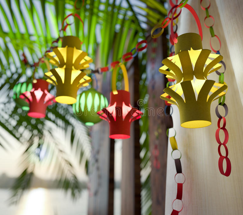 Decorations inside a Sukkah during the Jewish holiday stock photo