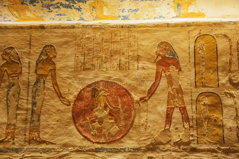 Decorations inside the tomb of Ramesses VII royalty free stock photo