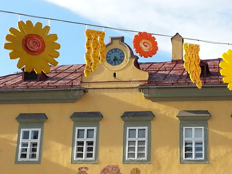 Decorations in Klagenfurt, in Austria. Decorations behind some palaces during a town festival in Klagenfurt, Austria royalty free stock images