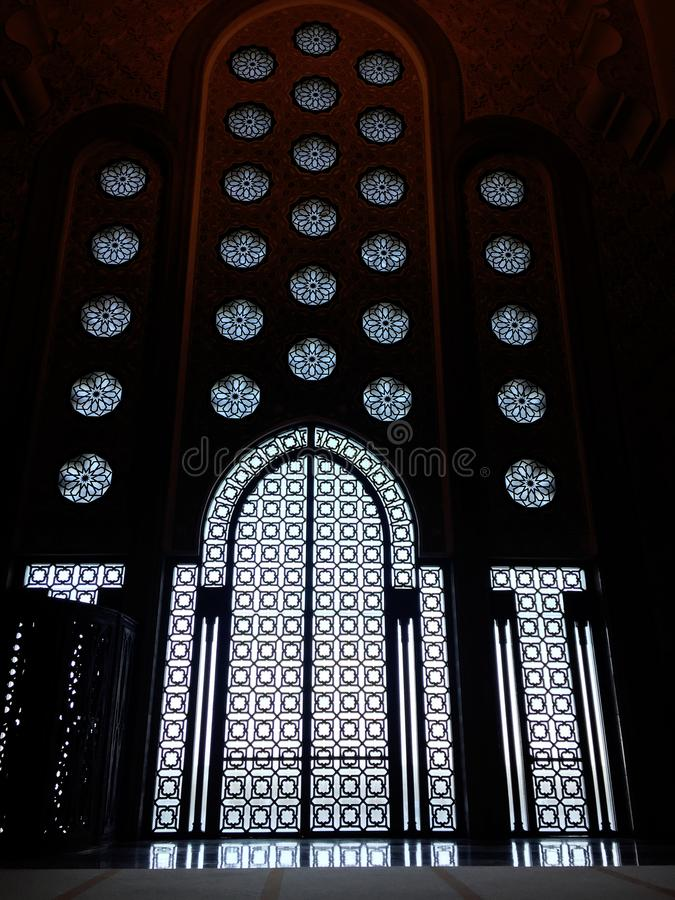 Decorations of the MOROCCO mosques. Casablanca - Morocco, July 20, 2018, Details of the decorations of the MOROCCO mosques stock photos