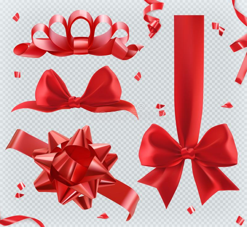 Free Decorations. Red Bows. Set Of Vector Icons Royalty Free Stock Image - 103267096