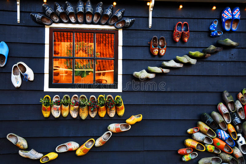 Decorations in the village of Zaanse Schans, Holland.  stock images