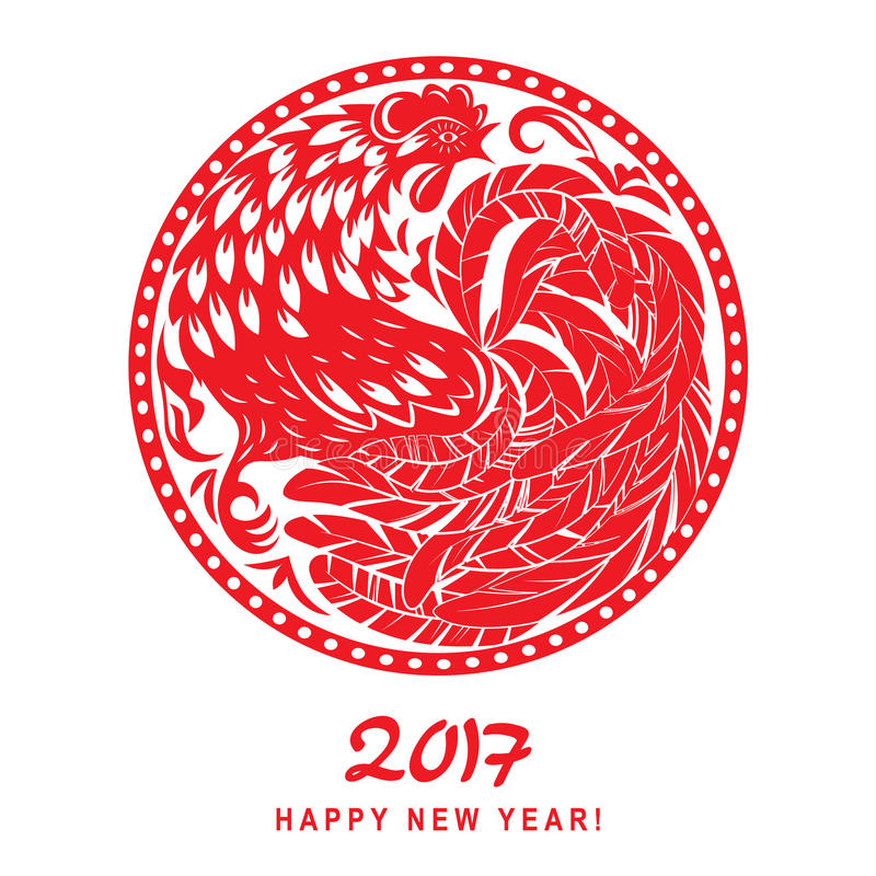 Decorative abstract cock. Ornamental red rooster in the form of a circle. Drawing Chinese characters of the New Year 2017 vector illustration