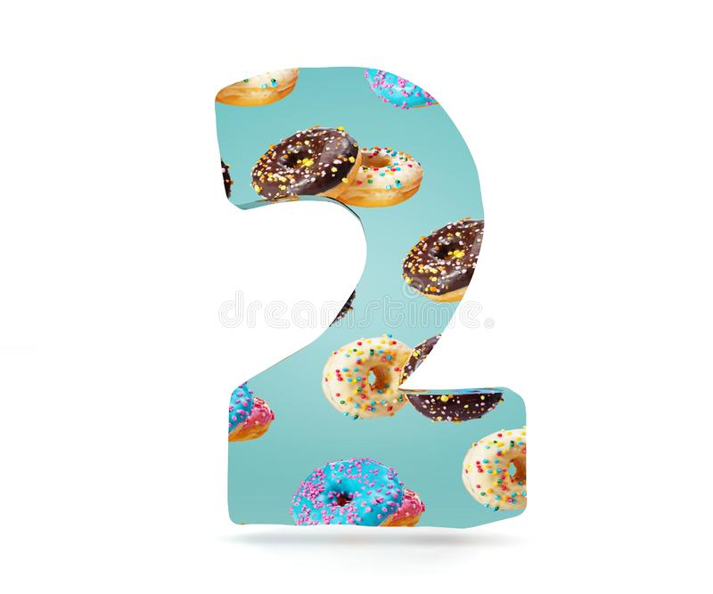 Decorative alphabet digit one symbol used pattern of donuts- 2. 3d rendering illustration. Isolated on white background. Decorative alphabet digit one symbol royalty free illustration