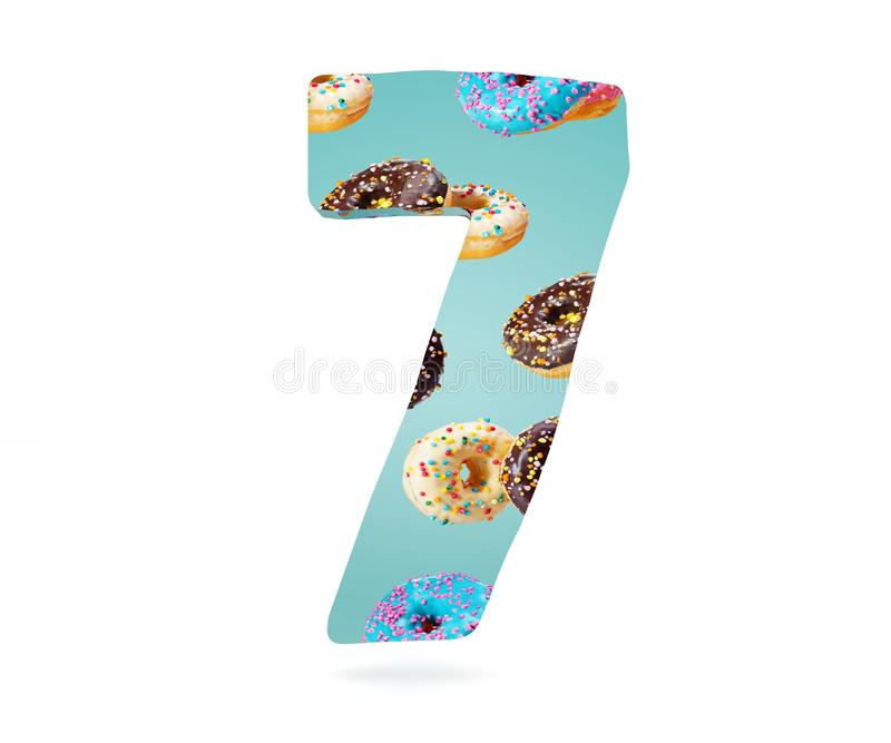 Decorative alphabet digit one symbol used pattern of donuts- 7. 3d rendering illustration. Isolated on white background. Decorative alphabet digit one symbol vector illustration