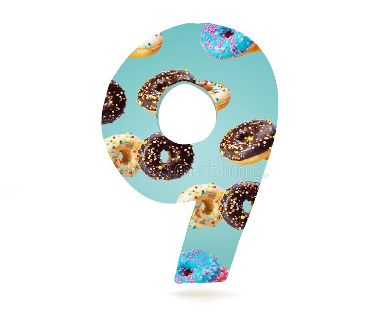 Decorative alphabet digit one symbol used pattern of donuts- 9. 3d rendering illustration. Isolated on white background. Decorative alphabet digit one symbol vector illustration