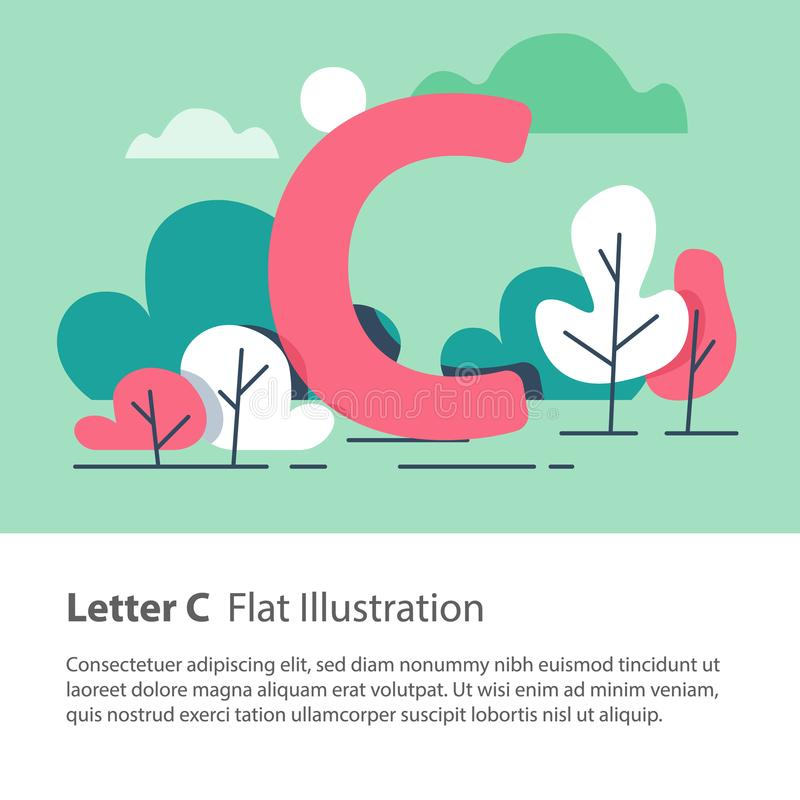 Decorative alphabet, letter C in floral background, park trees, simple font, education concept. Letter C in floral background, park trees, decorative alphabet royalty free illustration