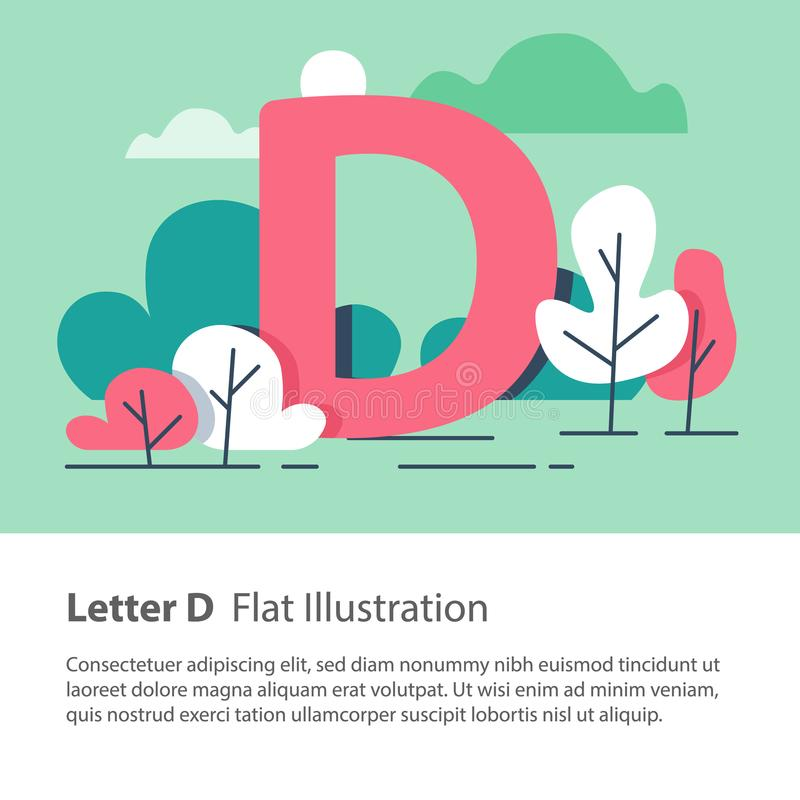 Decorative alphabet, letter D in floral background, park trees, simple font, education concept. Letter D in floral background, park trees, decorative alphabet stock illustration